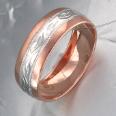 Кольцо обручальное с алмазным рисунком, серебро с золотым покрытием