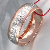 Кольцо обручальное с алмазными гранями в виде сердечек, серебро с позолотой 6мм
