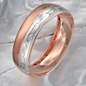 Кольцо обручальное с алмазными гранями, серебро с позолотой