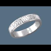 Кольцо обручальное с алмазными гранями, серебро