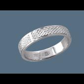 Кольцо обручальное с алмазными гранями, серебро 4мм