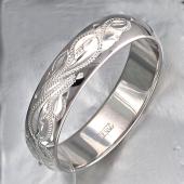 Кольцо обручальное с алмазными гранями Русские Узоры, серебро