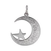 Кулон Полумесяц ажурный со звездой, серебро
