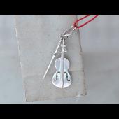 Кулон Скрипка со смычком, серебро