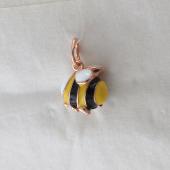 Кулон Пчела с желто-черной эмалью, серебро с позолотой