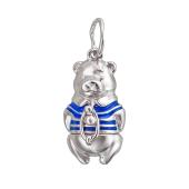Повеска Мишка в тельняшке с синей эмалью, серебро