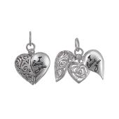 Кулон Сердце открывающееся с надписью I Love You из серебра с эмалью