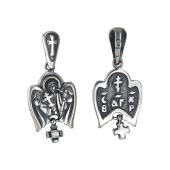 Ангел Хранитель с крестом и фианитом, серебро и чернение