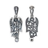 Ангел Хранитель с крестом и фианитом, серебро