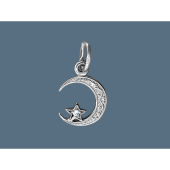 Кулон Полумесяц с орнаментом и фианитом, серебро