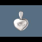 Кулон Сердце с фианитами и надписью Love, серебро
