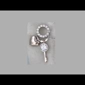 Кулон Сердце и Ключик с фианитами, серебро