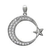 Кулон Полумесяц со Звездой с россыпью фианитов, серебро