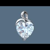 Кулон Сердце с фианитом в форме сердца, серебро