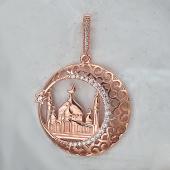 Кулон Полумесяц с мечетью и звездой, серебро с позолотой и фианитами