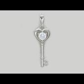 Кулон Ключ от Сердца с фианитом, серебро