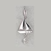 Кулон Парусник с якорем и фианитами, серебро