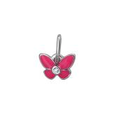 Подвеска Бабочка с розовой эмалью и фианитом, серебро