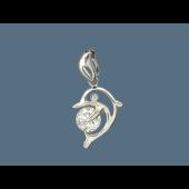 Кулон Дельфин с фианитом, серебро