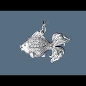 Кулон Рыбка с фианитами, серебро