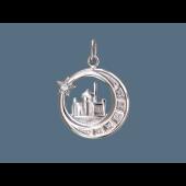 Кулон Полумесяц и Мечеть на окружности с фианитами, серебро