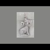 Кулон Кошка с россыпью фианитов, серебро