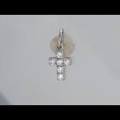 Крест без распятия с фианитами, серебро