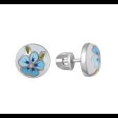 Серьги пусеты Цветок круглые с эмалью, серебро