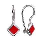 Серьги Ромб с красной эмалью, серебро