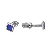 Пусеты квадратные с синей (с цветной) эмалью, серебро