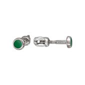 Пусеты круглые с зеленой (с цветной) эмалью, серебро