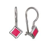 Серьги Ромб с розовой эмалью, серебро