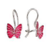 Серьги Бабочки с розовой эмалью, серебро