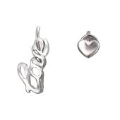Серьги ассиметричные. Кафф с надписью Love и гвоздик Сердце, серебро