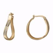 Серьги-кольца Волна с фианитами, красное золото, 25 мм