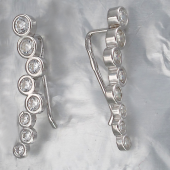 Серьги-каффы с круглыми фианитами, серебро