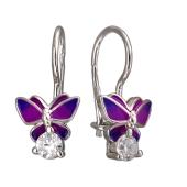 Серьги детские Бабочки с фианитом и эмалью, серебро
