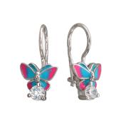 Детские серьги Бабочки с цветной эмалью и фианитом, серебро