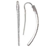 Серьги длинные с дорожкой фианитов, серебро