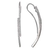 Серьги с двумя дорожками фианитов, серебро