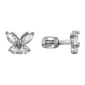 Серьги детские Бабочки с фианитами, серебро