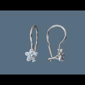 Серьги Цветы с голубым фианитом, серебро