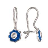 Серьги Цветочек с синей (с цветной) эмалью и фианитами, серебро