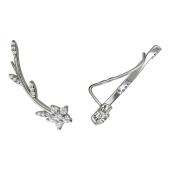 Серьги-каффы Цветок на ветке с фианитами, серебро