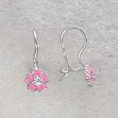 Серьги Цветок с розовой эмалью и фианитом, серебро