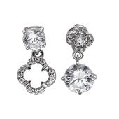 Серьги-пусеты ассиметричные Клевер с фианитами, серебро