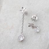 Серьги-пусеты Цветок с фианитом на цепочке, серебро