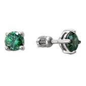 Серьги-пусеты с зеленым (с цветным) фианитом, серебро