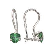 Серьги с зеленым (с цветным) фианитом треугольной формы, серебро