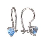 Серьги детские Сердечко из голубого (цветного) фианита, серебро